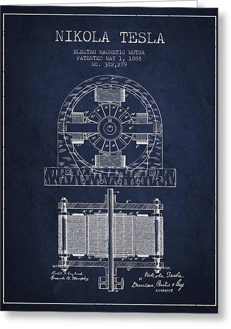 Generators Greeting Cards - Nikola Tesla Electro Magnetic Motor Patent Drawing From 1888 - N Greeting Card by Aged Pixel