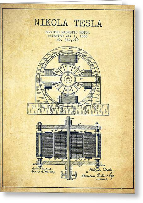 Electricity Greeting Card featuring the drawing Nikola Tesla Electro Magnetic Motor Patent Drawing From 1888 - V by Aged Pixel