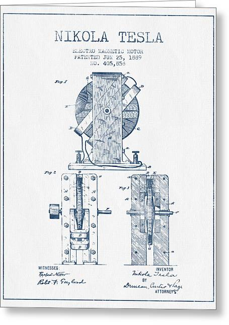 Generators Greeting Cards - Nikola Tesla Electro Magnetic Motor Patent Drawing From 1889  -  Greeting Card by Aged Pixel