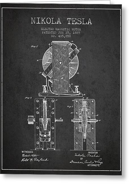 Generators Greeting Cards - Nikola Tesla Electro Magnetic Motor Patent Drawing From 1889 - D Greeting Card by Aged Pixel