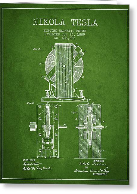 Generators Greeting Cards - Nikola Tesla Electro Magnetic Motor Patent Drawing From 1889 - G Greeting Card by Aged Pixel