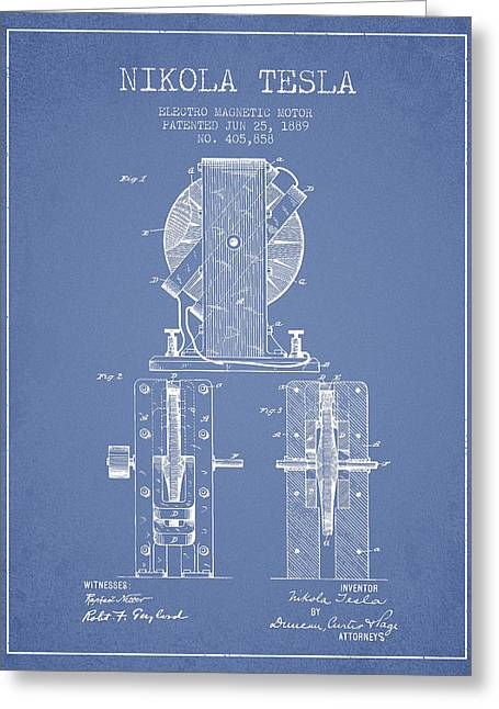 Generators Greeting Cards - Nikola Tesla Electro Magnetic Motor Patent Drawing From 1889 - L Greeting Card by Aged Pixel