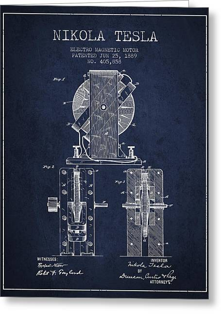 Generators Greeting Cards - Nikola Tesla Electro Magnetic Motor Patent Drawing From 1889 - N Greeting Card by Aged Pixel