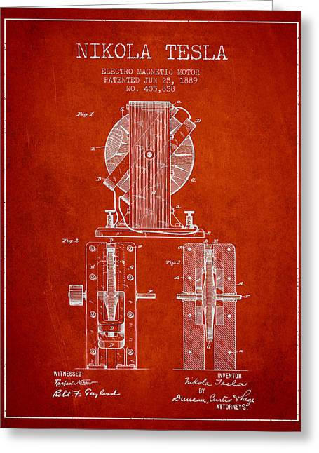 Magnetic Greeting Cards - Nikola Tesla Electro Magnetic Motor Patent Drawing From 1889 - R Greeting Card by Aged Pixel