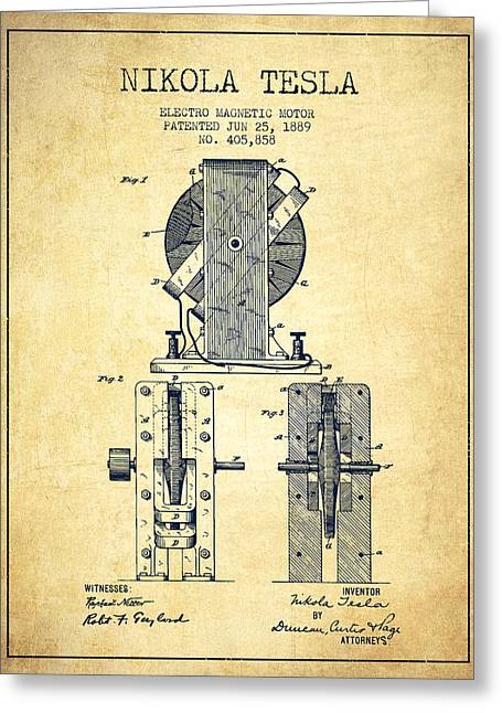 Generators Greeting Cards - Nikola Tesla Electro Magnetic Motor Patent Drawing From 1889 - V Greeting Card by Aged Pixel