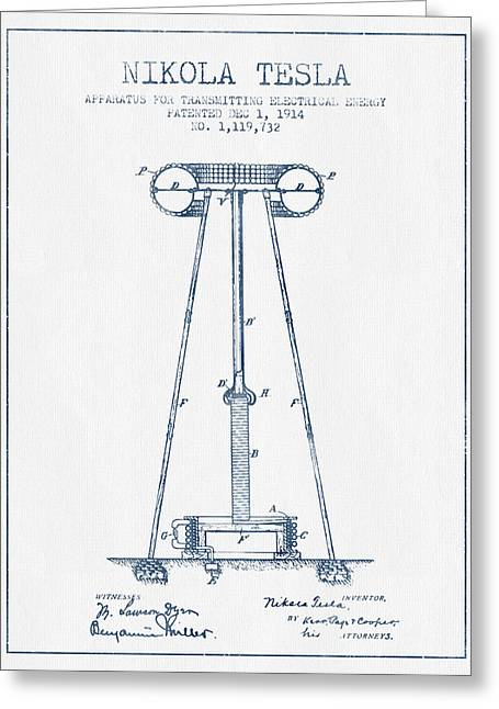 Generators Greeting Cards - Nikola Tesla Energy Apparatus Patent Drawing From 1914  - Blue I Greeting Card by Aged Pixel