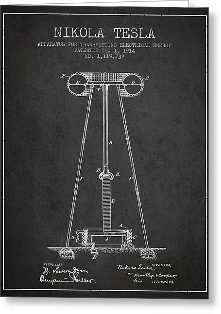 Generators Greeting Cards - Nikola Tesla Energy Apparatus Patent Drawing From 1914 - Dark Greeting Card by Aged Pixel