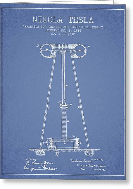 Generators Greeting Cards - Nikola Tesla Energy Apparatus Patent Drawing From 1914 - Light B Greeting Card by Aged Pixel