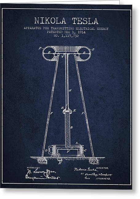 Generators Greeting Cards - Nikola Tesla Energy Apparatus Patent Drawing From 1914 - Navy Bl Greeting Card by Aged Pixel
