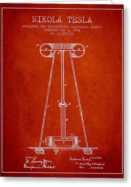 Generators Greeting Cards - Nikola Tesla Energy Apparatus Patent Drawing From 1914 - Red Greeting Card by Aged Pixel