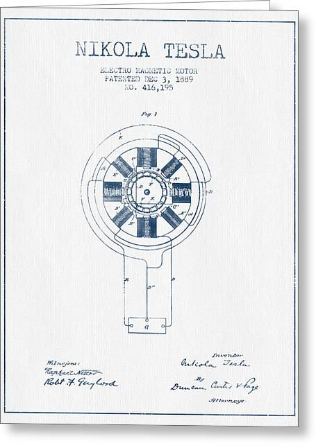 Generators Greeting Cards - Nikola Tesla Motor Patent Drawing From 1889 - Blue Ink Greeting Card by Aged Pixel