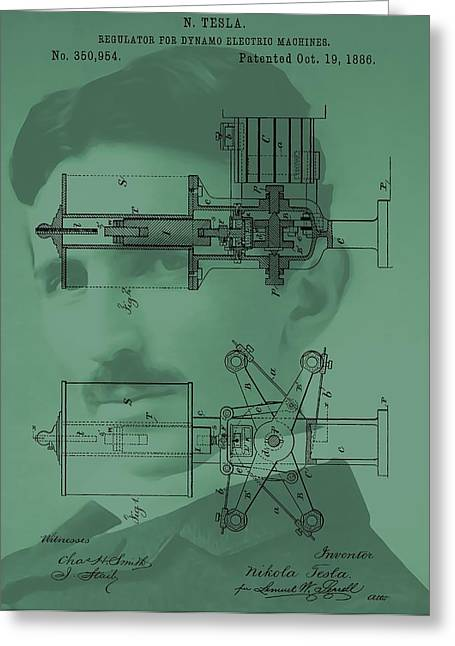 Nikola Tesla Patent Greeting Card by Dan Sproul