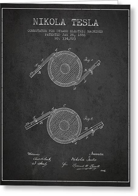 Generators Greeting Cards - Nikola Tesla Patent Drawing From 1886 - Dark Greeting Card by Aged Pixel