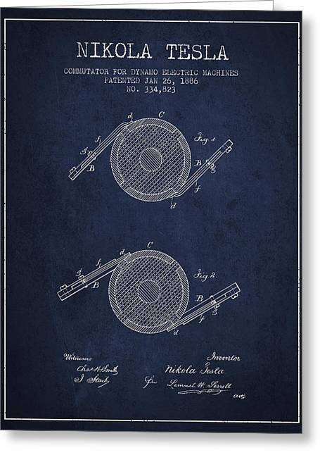 Generators Greeting Cards - Nikola Tesla Patent Drawing From 1886 - Navy Blue Greeting Card by Aged Pixel