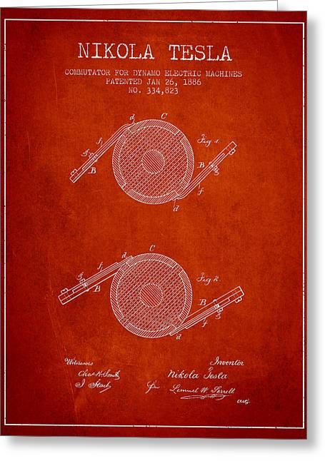 Generators Greeting Cards - Nikola Tesla Patent Drawing From 1886 - Red Greeting Card by Aged Pixel