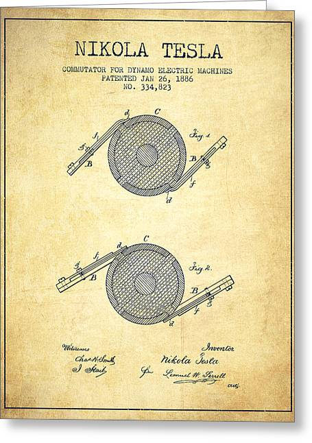Generators Greeting Cards - Nikola Tesla Patent Drawing From 1886 - Vintage Greeting Card by Aged Pixel