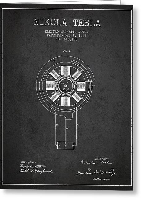 Magnetic Greeting Cards - Nikola Tesla Patent Drawing From 1889 - Dark Greeting Card by Aged Pixel