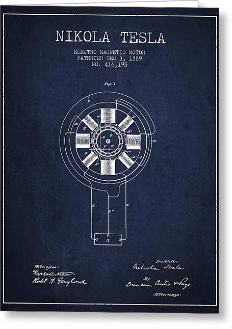 Generators Greeting Cards - Nikola Tesla Patent Drawing From 1889 - Navy Blue Greeting Card by Aged Pixel