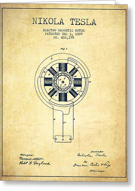 Electricity Greeting Cards - Nikola Tesla Patent Drawing From 1889 - Vintage Greeting Card by Aged Pixel