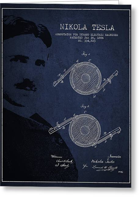 Generators Greeting Cards - Nikola Tesla Patent from 1886 Greeting Card by Aged Pixel
