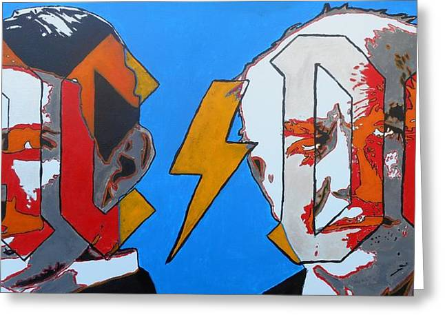 Electric Current Paintings Greeting Cards - Nikola Tesla vs Thomas Edison Greeting Card by Chad Barker