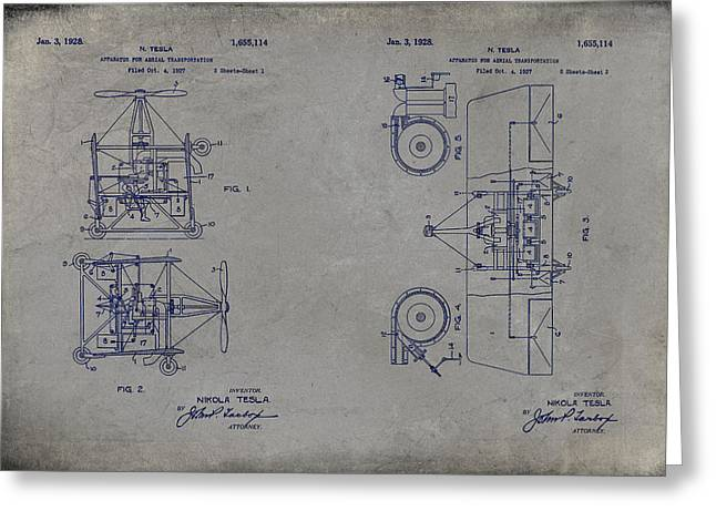 Edison Greeting Cards - Nikola Teslas Aerial Transport Patent 1928 Grunge Gray Greeting Card by Paulette B Wright