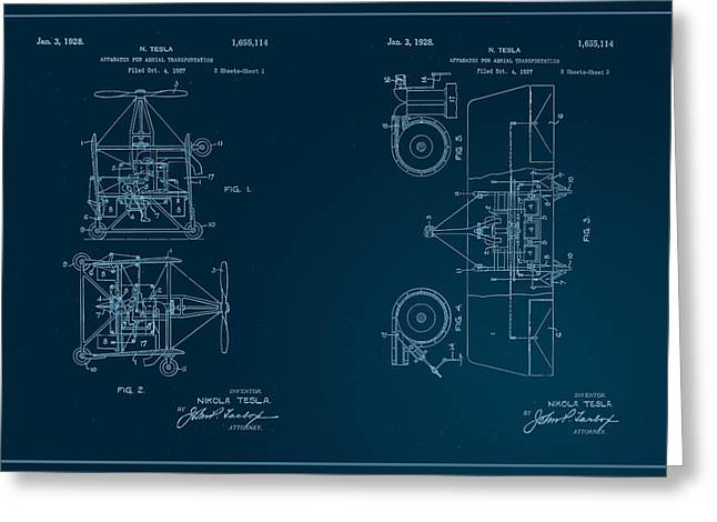 Edison Greeting Cards - Nikola Teslas Aerial Transport Patent 1928 Greeting Card by Paulette B Wright