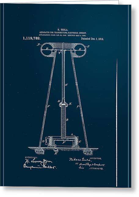Edison Greeting Cards - Nikola Teslas Transmitter Patent 1914 Greeting Card by Paulette B Wright