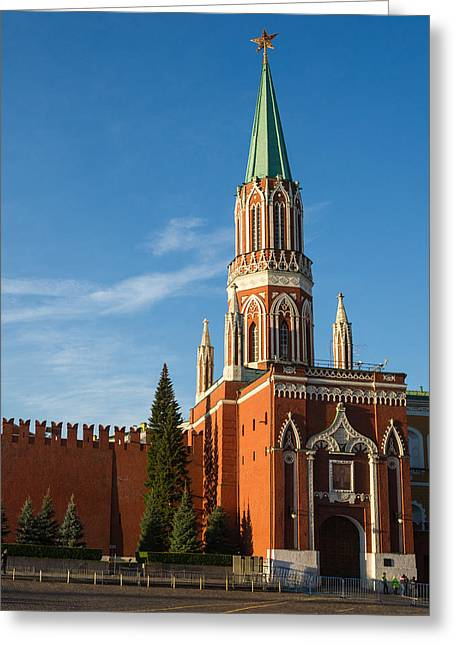 Nicholas Greeting Cards - Nikolskaya - St. Nicholas - Tower Of The Kremlin - Square Greeting Card by Alexander Senin