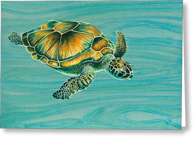 Ocean Turtle Paintings Greeting Cards - Niks Turtle Greeting Card by Emily Brantley