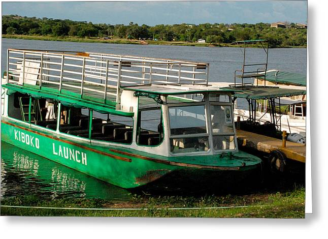 Geobob Greeting Cards - Nile Ferry Crossing and Tour Boats near Paraa Murchison Falls National Park Uganda Africa Greeting Card by Robert Ford