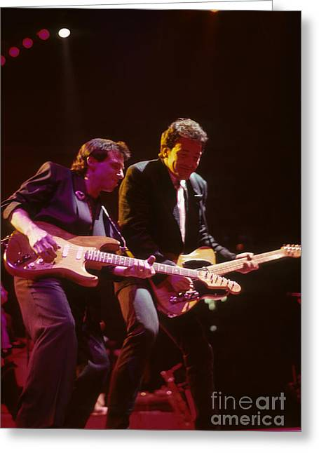 Nils Greeting Cards - Nils Lofgren and Bruce Springsteen Greeting Card by Rich Fuscia