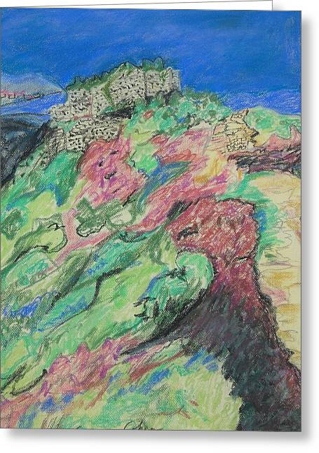 Pastel Mountains Metal Prints Greeting Cards - Nimrods Fortress Greeting Card by Esther Newman-Cohen