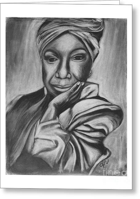 Nina Simone Greeting Cards - Nina Greeting Card by Carol Northington