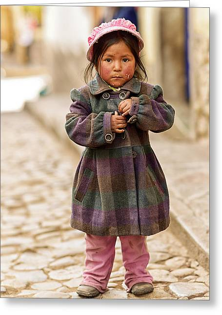 Campesino Greeting Cards - Nina In Cuzco Peru Greeting Card by Gabriele Ardemagni