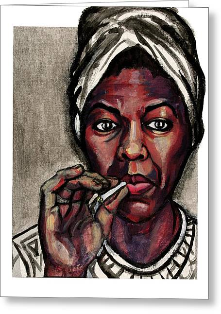 Nina Simone Greeting Cards - Nina Simone Greeting Card by Adam B Cook