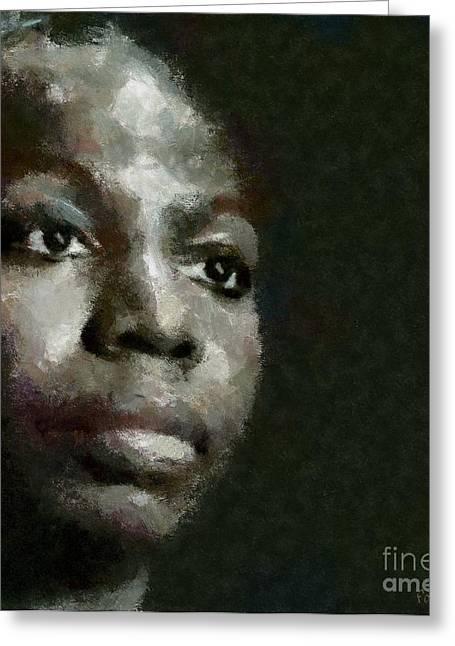 Pianist Mixed Media Greeting Cards - Nina Simone Greeting Card by Dragica  Micki Fortuna