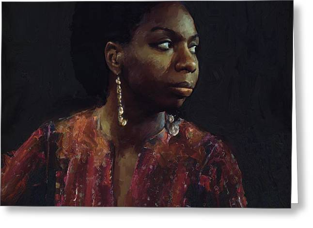 Nina Simone Greeting Cards - Nina Simone Greeting Card by Les Allsopp