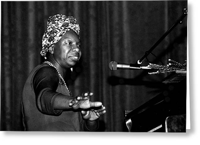 Crooner Greeting Cards - Nina Simone Greeting Card by Nomad Art And  Design