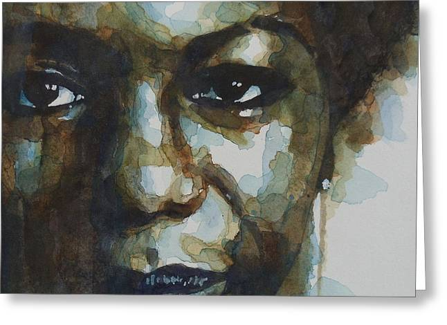 Eyes Paintings Greeting Cards - Nina Simone Greeting Card by Paul Lovering