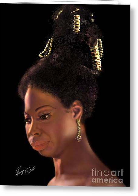Nina Simone Greeting Cards - Nina Simone Greeting Card by Reggie Duffie