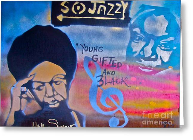 Nina Simone Greeting Card by Tony B Conscious