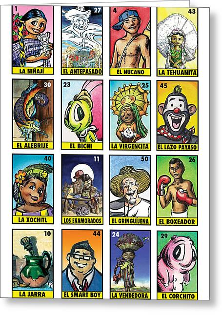 Mexican Greeting Cards - Ninaji Loteria Number One Greeting Card by Isis Rodriguez