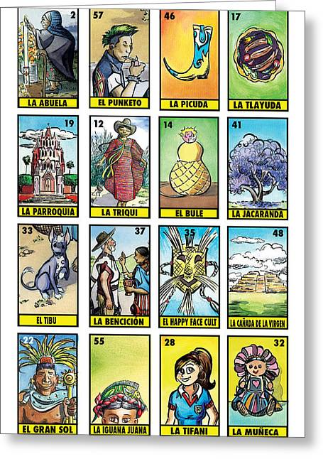 Mexican Greeting Cards - Ninaji Loteria Number Two Greeting Card by Isis Rodriguez