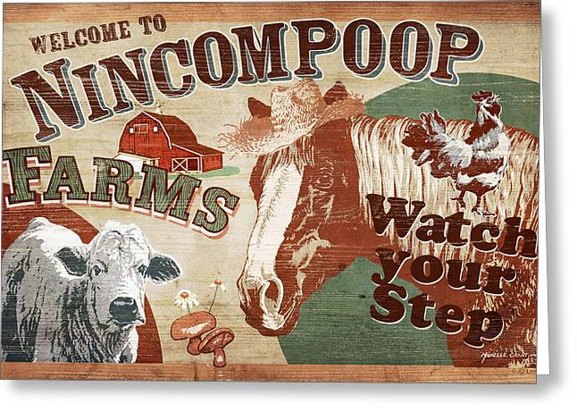 Crops Paintings Greeting Cards - Nincompoop Farms Greeting Card by JQ Licensing