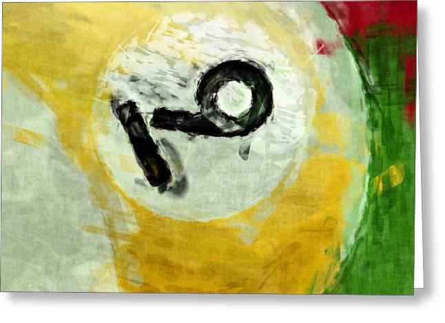 Nine Ball Billiards Abstract Greeting Card by David G Paul