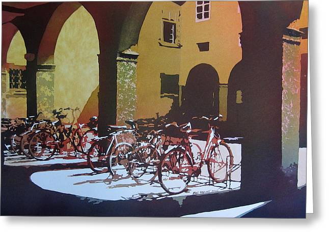 Nine Bicycles Greeting Card by Kris Parins