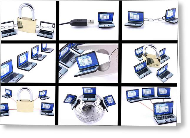 Firewall Greeting Cards - Nine computer images on white background Greeting Card by Simon Bratt Photography LRPS