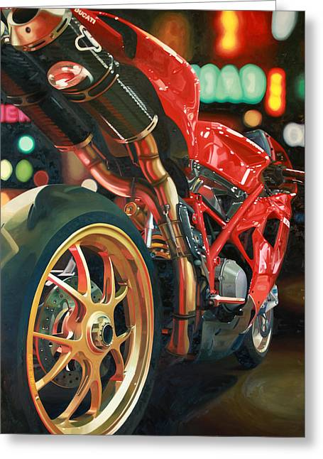 City Lights Greeting Cards - Nine Foot Ducati Greeting Card by Guenevere Schwien