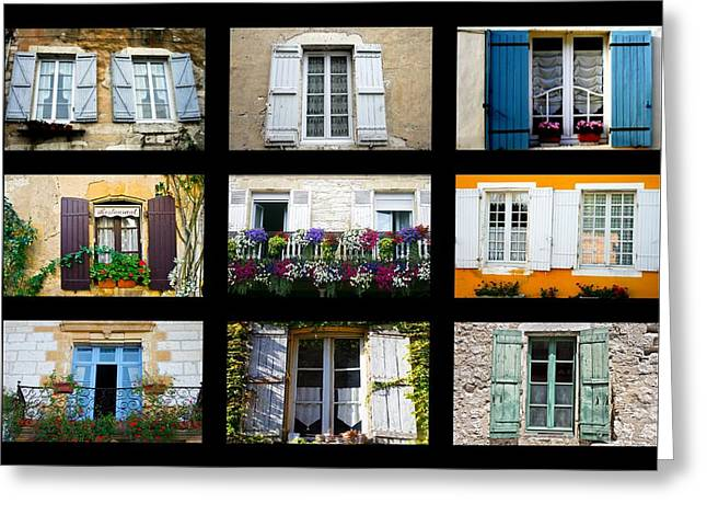 French Windows Greeting Cards - Nine French Windows Collage Greeting Card by Nomad Art And  Design